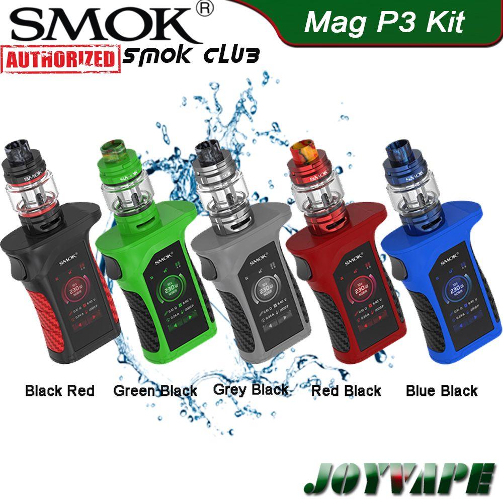 SMOK Mag P3 Kit 230W con TFV16 Serbatoio Realizzato da doppio 18650 cellule coniche Mesh Coil IP67 impermeabile Vape il corredo 100% autentico