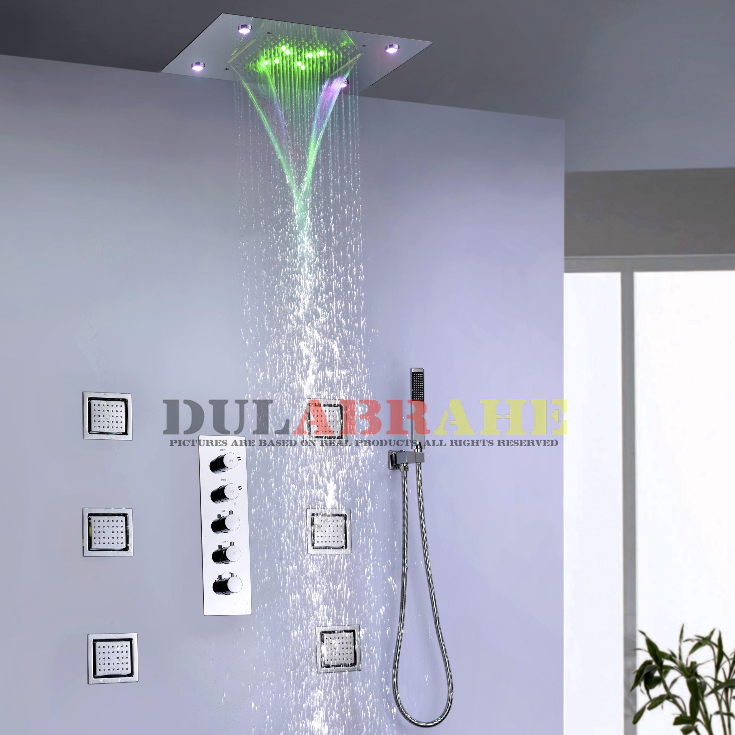 4 Funciones de agua Trabajar en conjunto o por separado 50X36 CM Ducha de lluvia Cabeza de baño Baño Juego de grifos de ducha LED 008-50X36P-6MK
