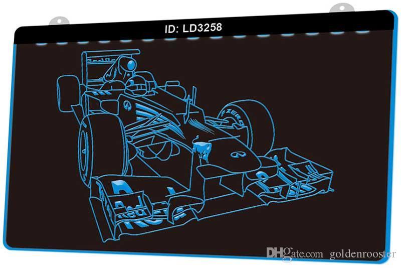 LD3258 Racing Car New LED Gravure 3D Lumière signe Personnaliser à la demande de plusieurs couleurs