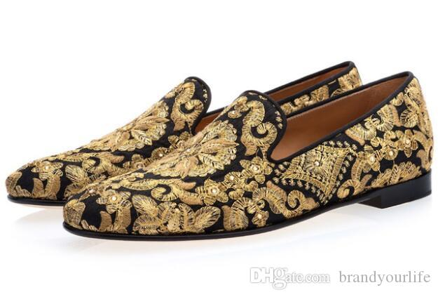 Zapatos Hombre Novos Homens Preto Azul Calçado Feito À Mão De Ouro Bordado Loafers Man Slip On Flats Mens Vestido Sapatos
