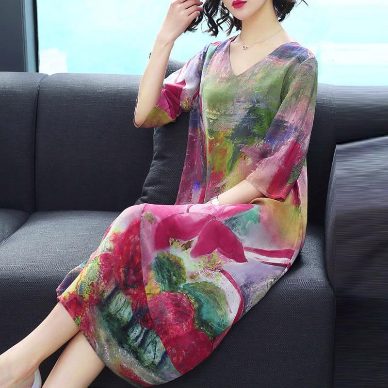 Новый весна лето женщин платье цветочный печатных шорты рукав упругие талии платье дамы платья Vestidos роковой 2020#Г2