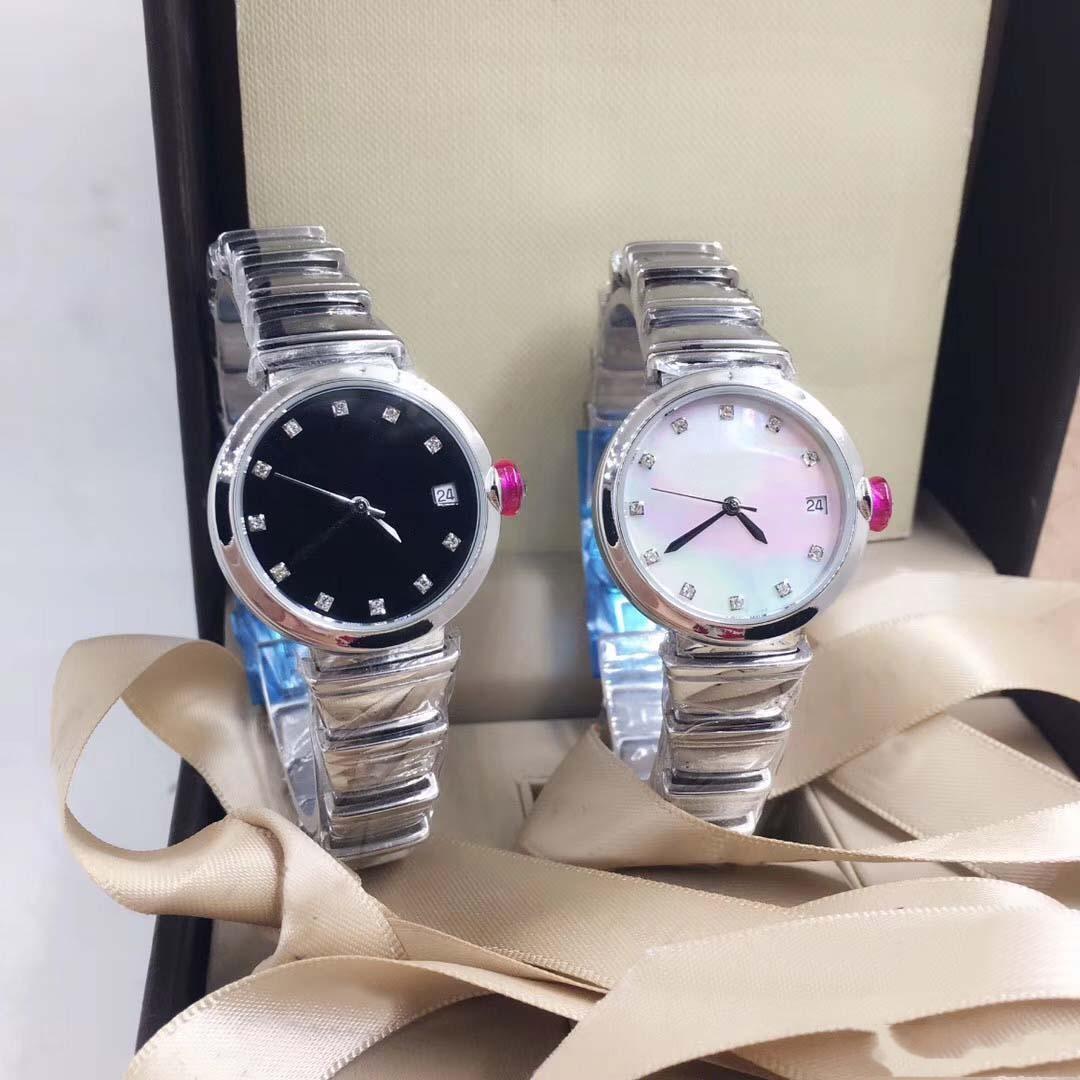 Наибольший Кварц женщин Наручные часы 29MM серебро из нержавеющей стали Bracklet Дата Женщины Часы Женские часы Белый перламутр Алмазный циферблатом