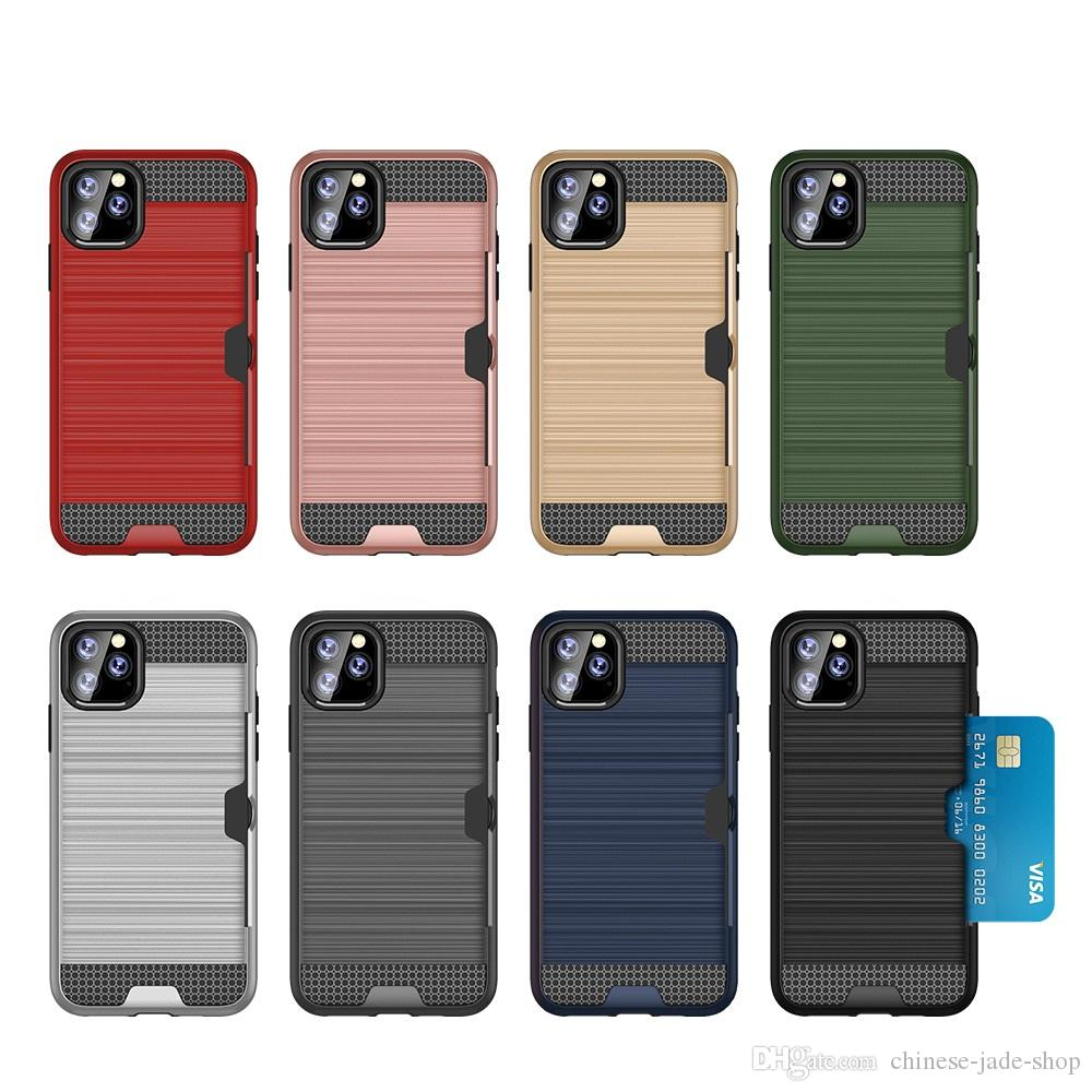 Armour TPU + PC Hybride Geborsteld Creditcard Slot Case voor iPhone 11 PRO 11 PRO MAX 6 7 8 PLUS XR XS XS MAX 400PS / LOT