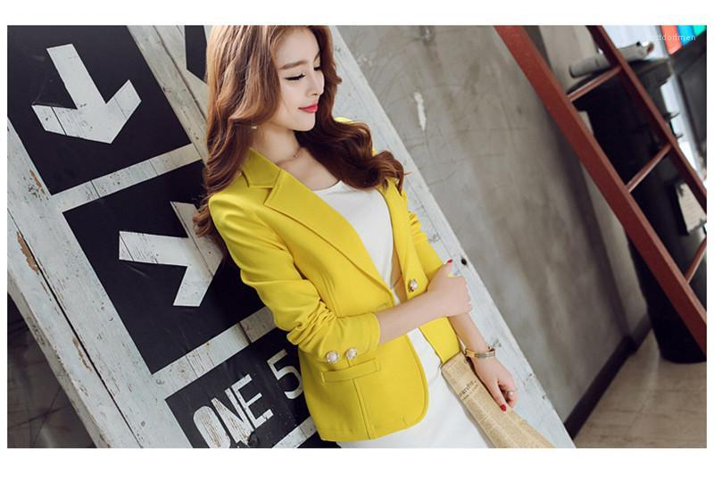 Neck Blazers vêtements féminins Longueur Femmes Printemps Eté régulier Blazers Pure Color Patchwork manches longues Lapel