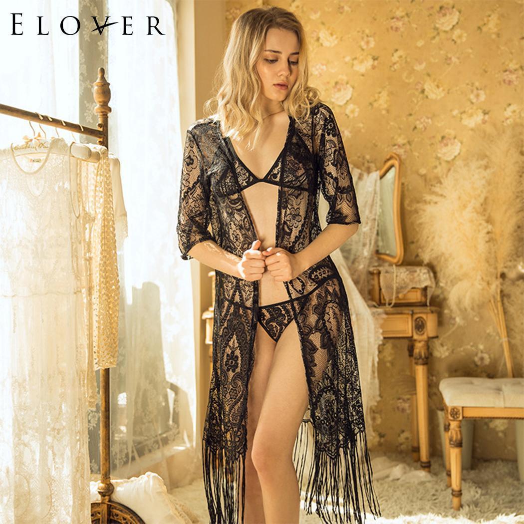 Elover جنسي الملابس الداخلية ملابس نوم المرأة مثير الرقبة نصف كم الأزهار انظر من خلال الملابس الداخلية سترة ملابس خاصة