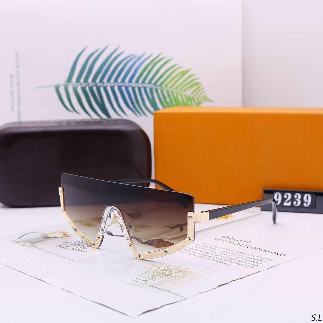 Erkek Kadın Güneş Tasarımcı Güneş Man Kadın Büyük Boy Gözlüğü Gözlük UV400 V Harf 9239 Box ile 6 Renkler Opsiyonel