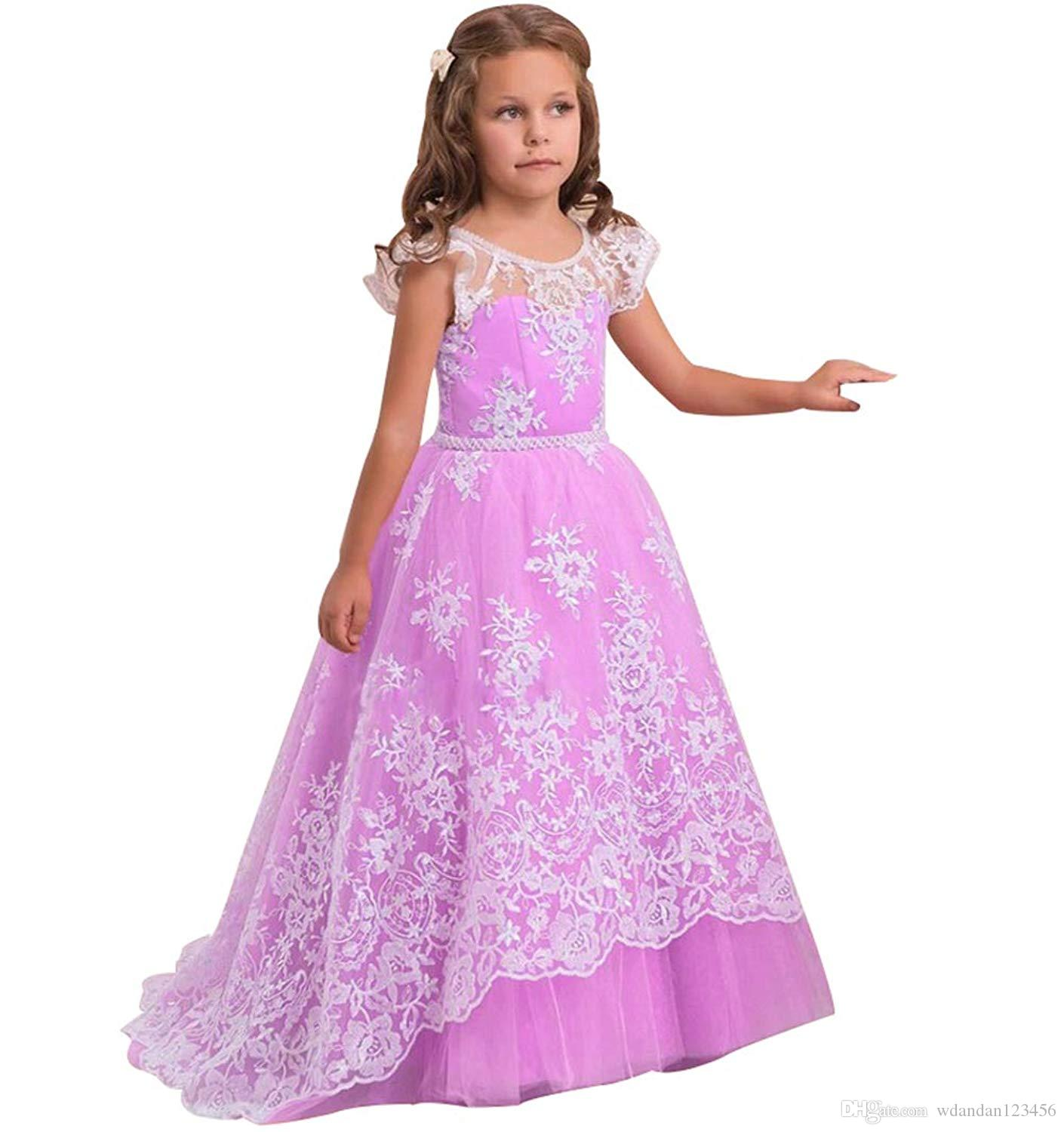 Free Shipping Pink Princess Girls Pageant Gown Lace Appliques Ball Gown Flower Girl Dresses BoHo Prom Partty Formal Pageant Bridesmaid Gowns