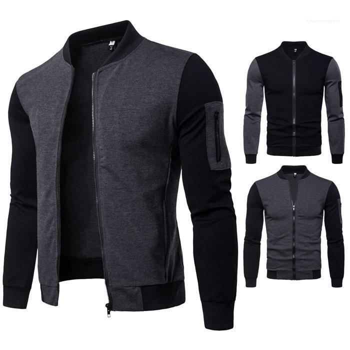 Slim Zipper Casual Apparel Mens Autumn Desinger Jackets Crew Neck New Style Long SLeeve Solid Colot