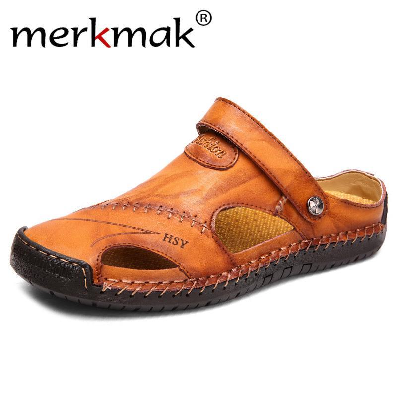 Yaz Sandalet Erkek Deri Klasik Roma Sandalet 2019 Terlik Açık Sneaker Plaj Kauçuk Kapak Erkekler Su Trekking Sandalet MX200617 Floplar