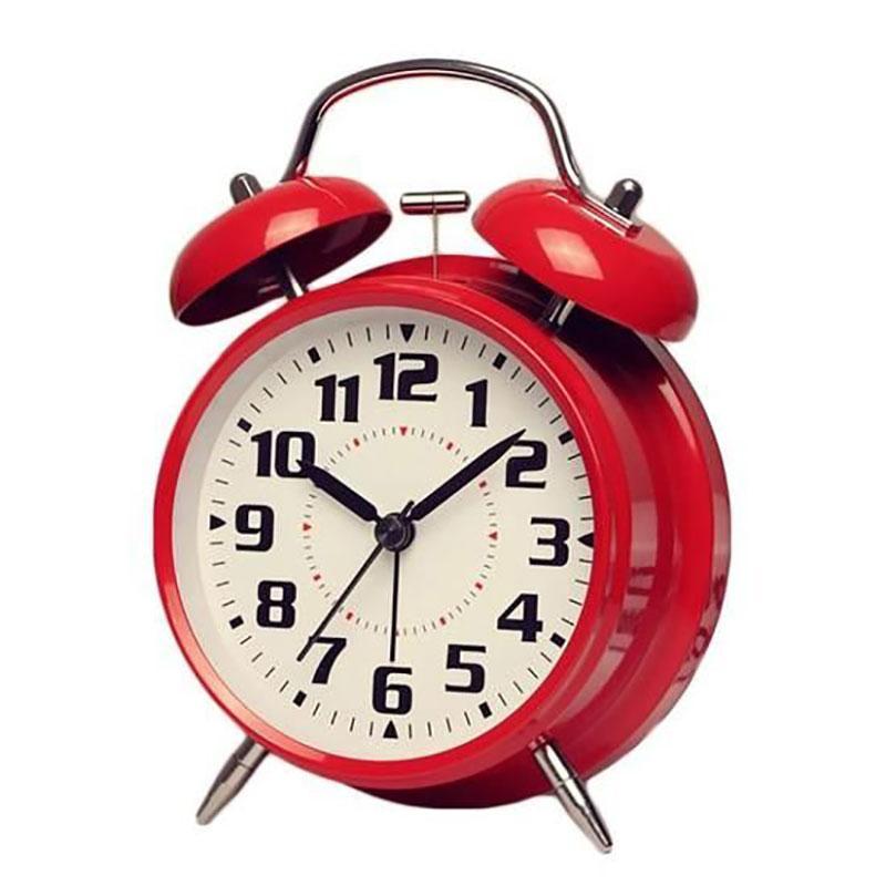 Simple Metal Alarm Clock Cute Ingenious Mute Night Light 4 Inch Fashion Digital Student Bedside Alarm Clock Loud Red