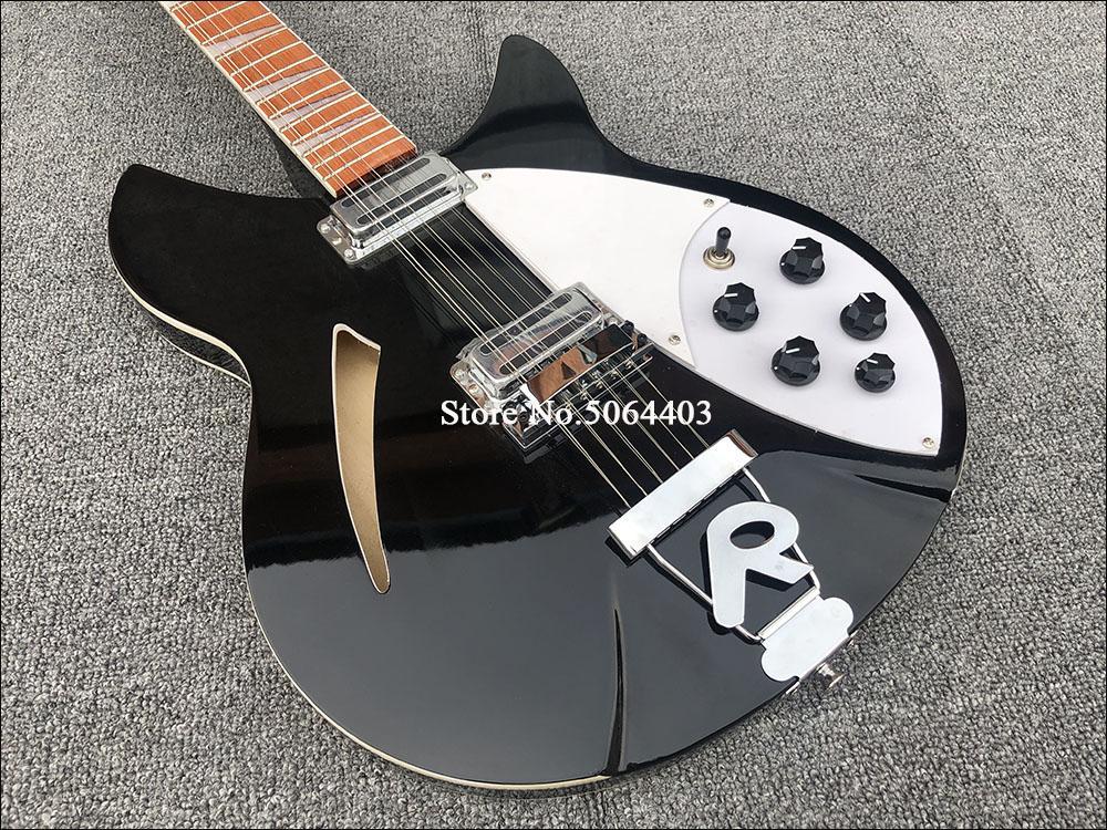 RIC 330 12 Cordas Gloss Black Guitar semi oco Body Electric Gloss Varnish Rosewood Fingerboard, 5 Konbs, 2 Jacks de saída, único F Buraco