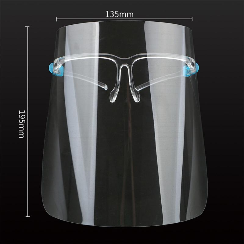 Amerikaanse voorraad, beschermende volledige gezichtsmasker met bril Transparante Anti Vloeistoffen Face Shield Anti Dust Splash Mond Gezicht Duidelijk Beschermend Masker