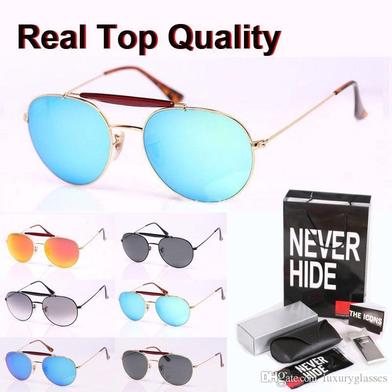 Alta calidad de cristal de la lente gafas de sol de las mujeres de los hombres marca de diseño del marco doble puente de metal con la caja original, paquetes, accesorios, todo!