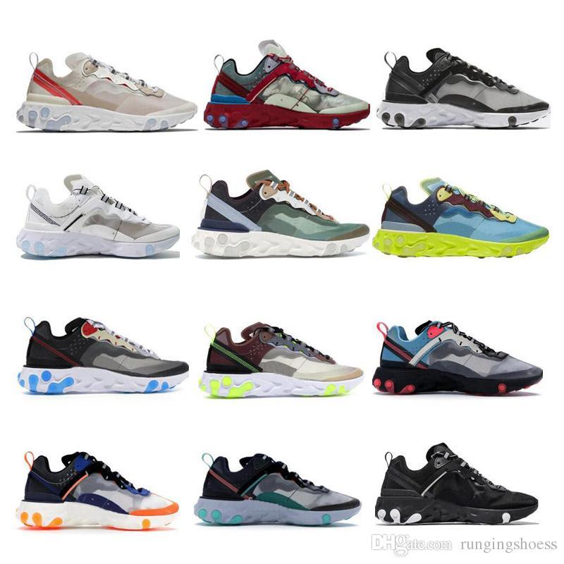 2019 de Epic Reaccionar Element 87 encubiertos hombres de los zapatos corrientes Sombras de la raya verde Negro las mujeres zapatos de diseño zapatillas de deporte 5.5-11