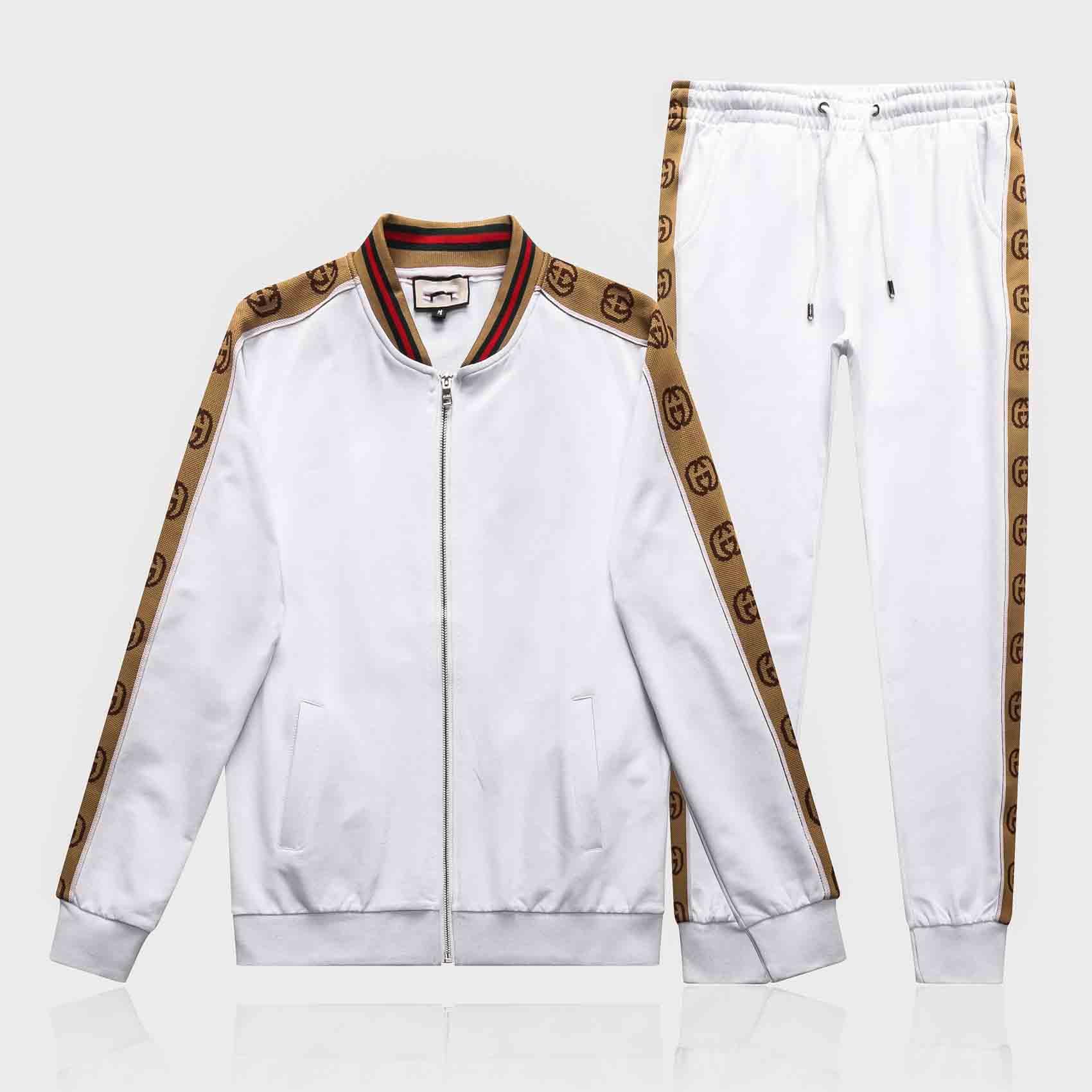 가을 남자의 전체 우편 운동복 남성 스포츠 정장 흰색 긴 소매 남자 셔츠와 바지 정장 까마귀와 바지 세트 운동복 남성