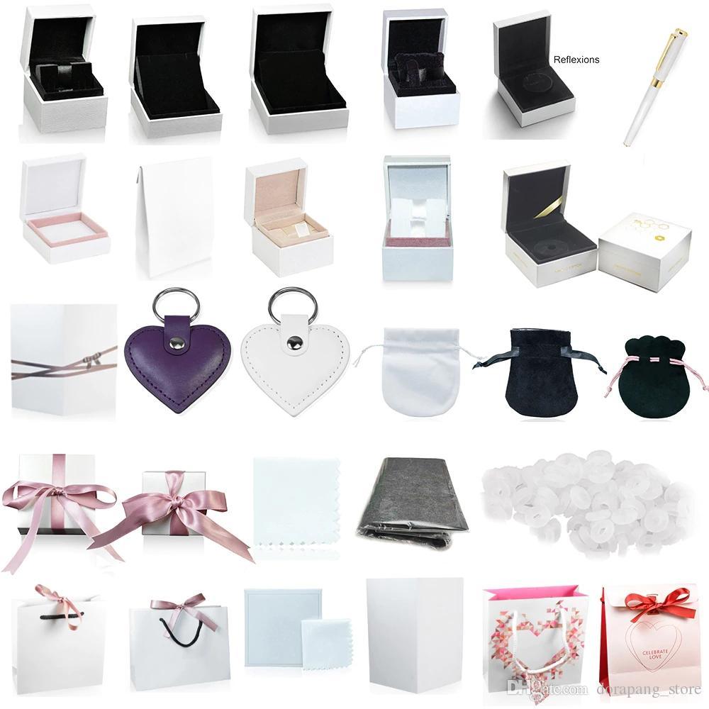 Высокое качество Пандора коробки шарма кольца серьги ожерелья ювелирных изделий браслета Protection Box Гарантировать мешок подарка карты аксессуары брелок Pen