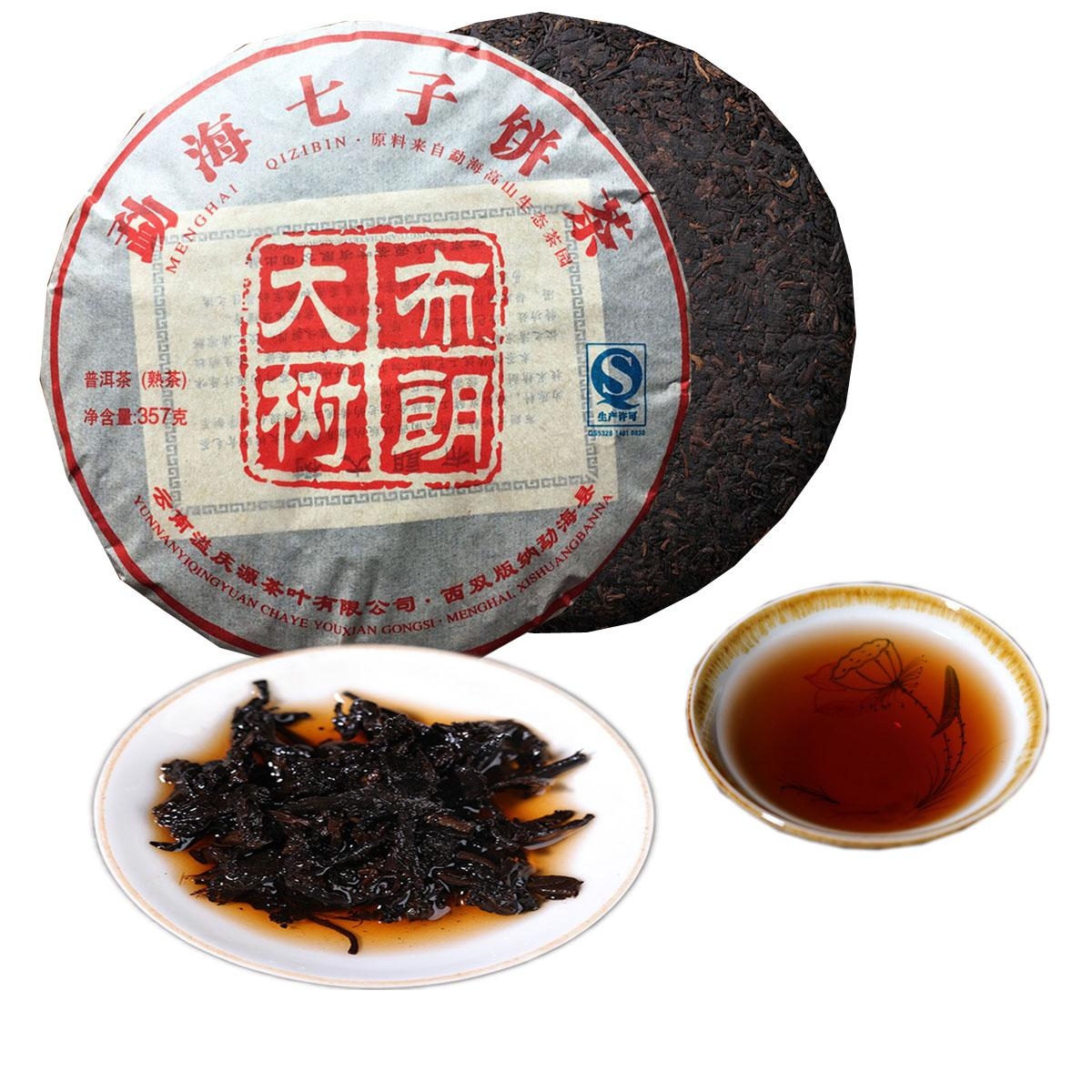357g Yunnan Big Tree Brown Ripe Puer Tea Cake Organic Natural Pu'er Oldest Tree Cooked Puer Black Puerh Preference Green Food