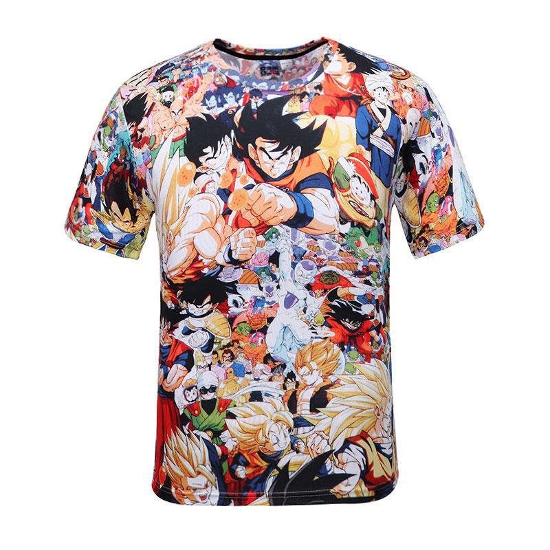 Лето мультфильм Tshirt Мужчины Женщины Аниме Camiseta Dragon Ball Забавная Печать 3d Футболка унисекс Повседневный T-Shirt Camiseta 3D Hombre S-2XL