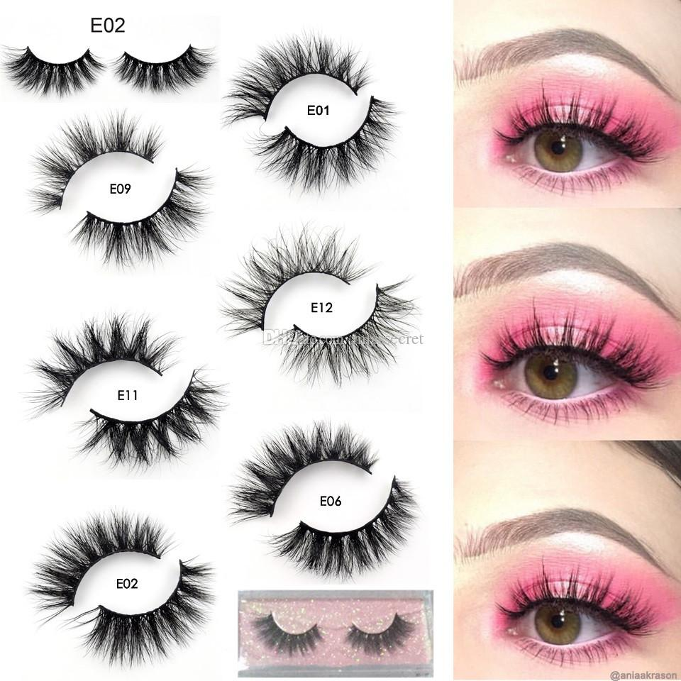 New Mink Lashes 3D Mink Eyelashes 100% Cruelty free Lashes Handmade Reusable Natural Eyelashes Popular False Eeye Lashes Makeup E series