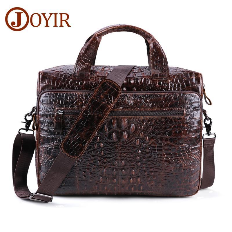 "JOYIR Men's Briefcase Genuine Leather Bag for Men Leather 15.6"" Laptop Bags Crocodile Pattern Messenger Bag Tote Handbag"
