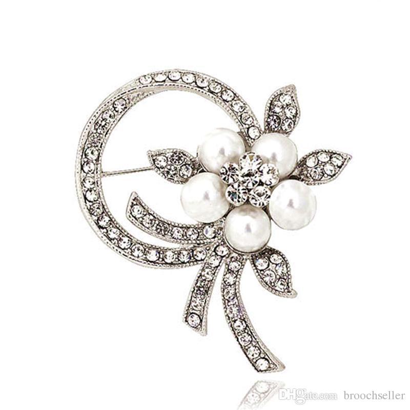 2 pouces Vintage plaqué argent crème perle et strass cristal Diamante parti Prom Broche Pins Accessoire bijoux