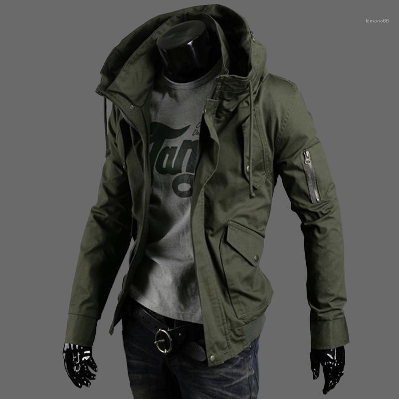 Invierno para hombre de las chaquetas más el tamaño de manga larga con capucha para hombre abrigos con cremallera de la manera de vestir exteriores floja Hombre diseñador