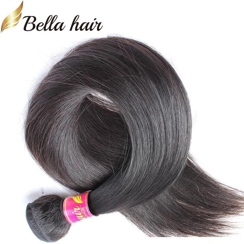 """8 """"-30""""ペルーの人間の髪の束まっすぐな人間の激しい髪の緯時の伸びの自然な色1pc小売ベラの髪"""