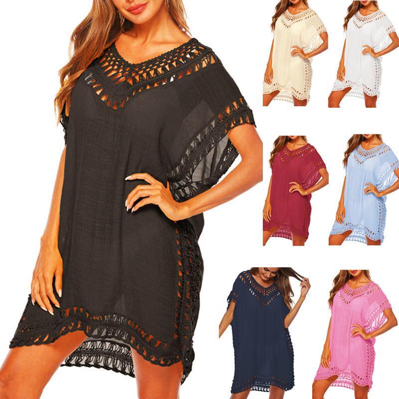 White Cover tunica spiaggia vestire per le donne nere chiffon Parei Abiti 2020 signore Beachwear Wear 2019 Bikini Swimsuit Cover-up T200601