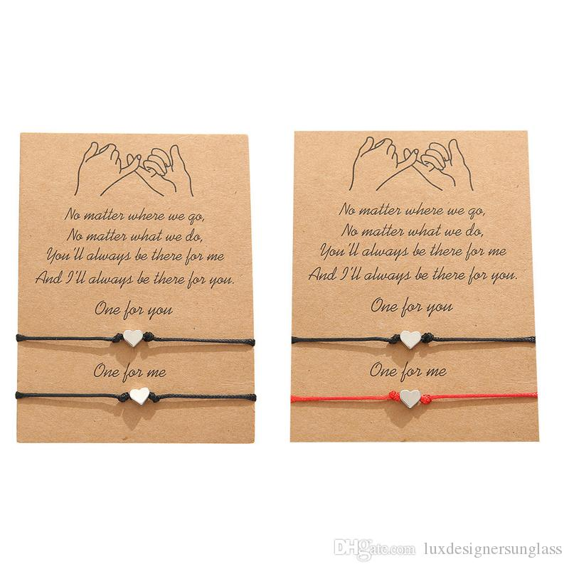 Pulsera con deseos de Tarjetas de Regalo Mujeres pulseras de la amistad de corazón para mujeres Amistad Tarjetas de felicitación regalo de la joyería