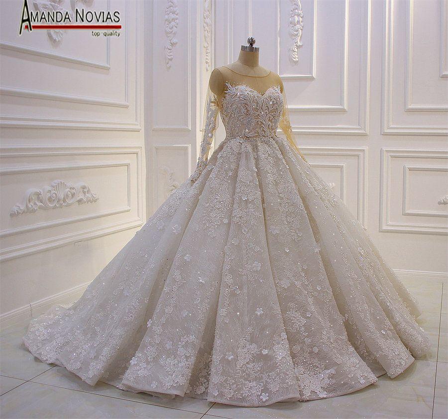Amazing New Model 2019 Long Sleeve Lace Wedding Dresses Amanda Novias