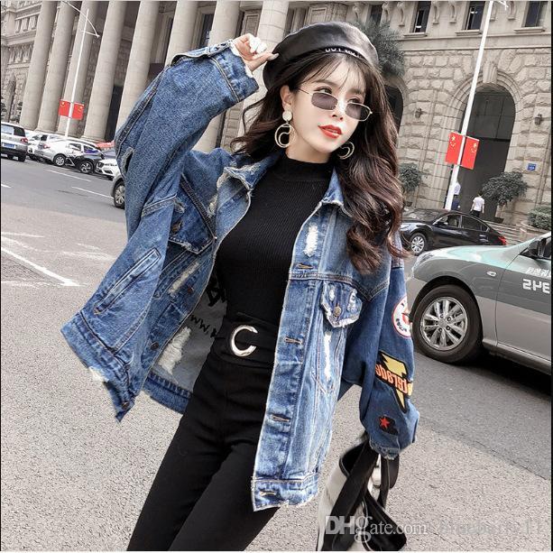 2019 otoño del resorte de la cosecha de cuero chaquetas de mezclilla mujeres ocasionales de los pantalones vaqueros Bombardero capa de la chaqueta más el tamaño de dril de algodón de manga larga