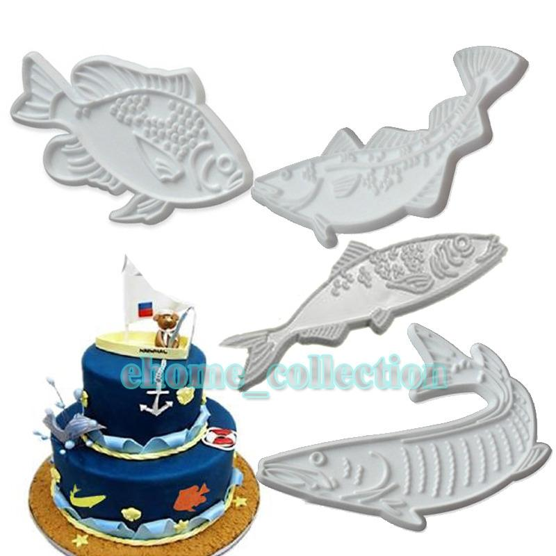 DIY Cake Chocolate Mold 3D Plastic Fish Shaped Plastic Printing Biscuits Cookies Cutter Embosser Fondant Cake Decorating Tools Other Bakewar