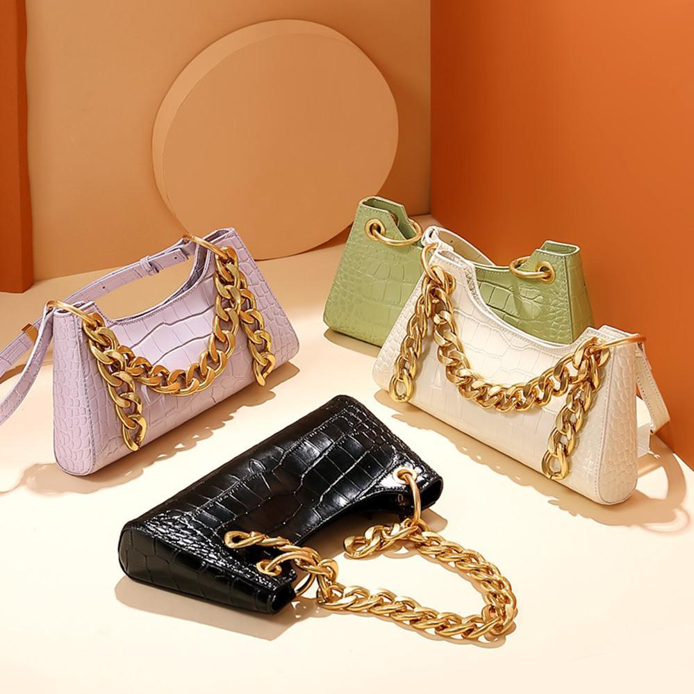 2020 new wave niche leather small c armpit bag k baguette bag thick chain shoulder portable frog bag