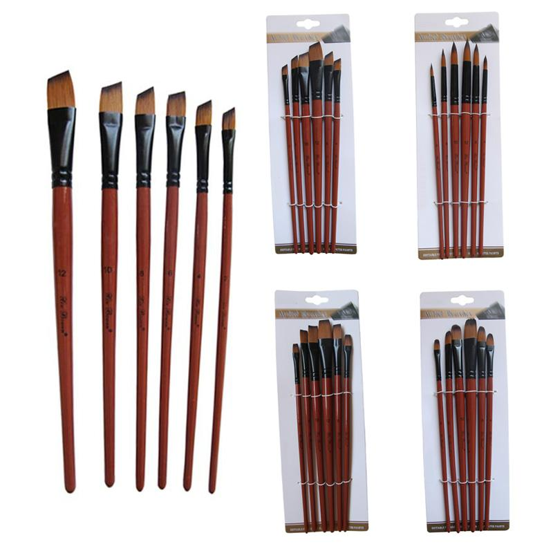 Art Model Paint Craft Tools Nylon Hair Acrylic Oil Watercolour Drawing Arts Supplies Brown 6 Pcs Painting Brush Artist Paint-Brushes Set