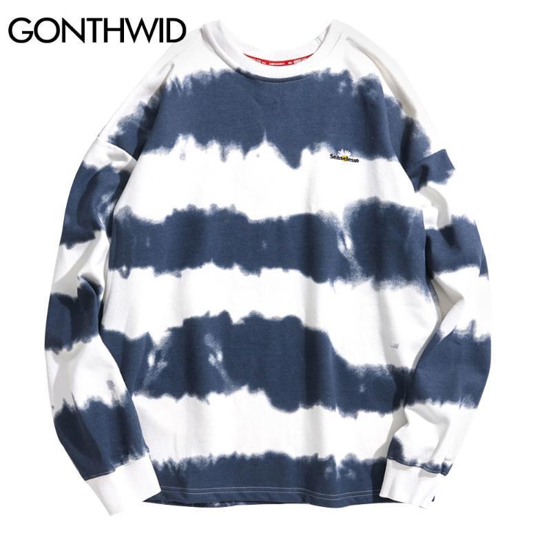 GONTHWID Harajuku Tie Dye Полосатый пуловер Кофты Толстовки 2020 Mens Hip Hop Повседневный Streetwear Мода Hoodie Outwear Tops