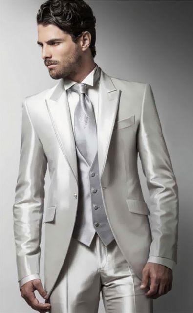 Italian Satin Suit Men Blazer Wedding Groom Men Suit With Pants Vest Prom Slim Fit Tuxedo Terno Jacket Costume Homme Mariage