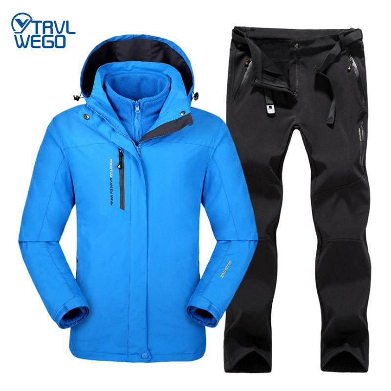 TRVLWEGO Winter Men Outdoor Ski Jacket Suits Hiking Camping Sports Fleece Windbreaker Thermal Fleece Pants Man Set Coat Trousers