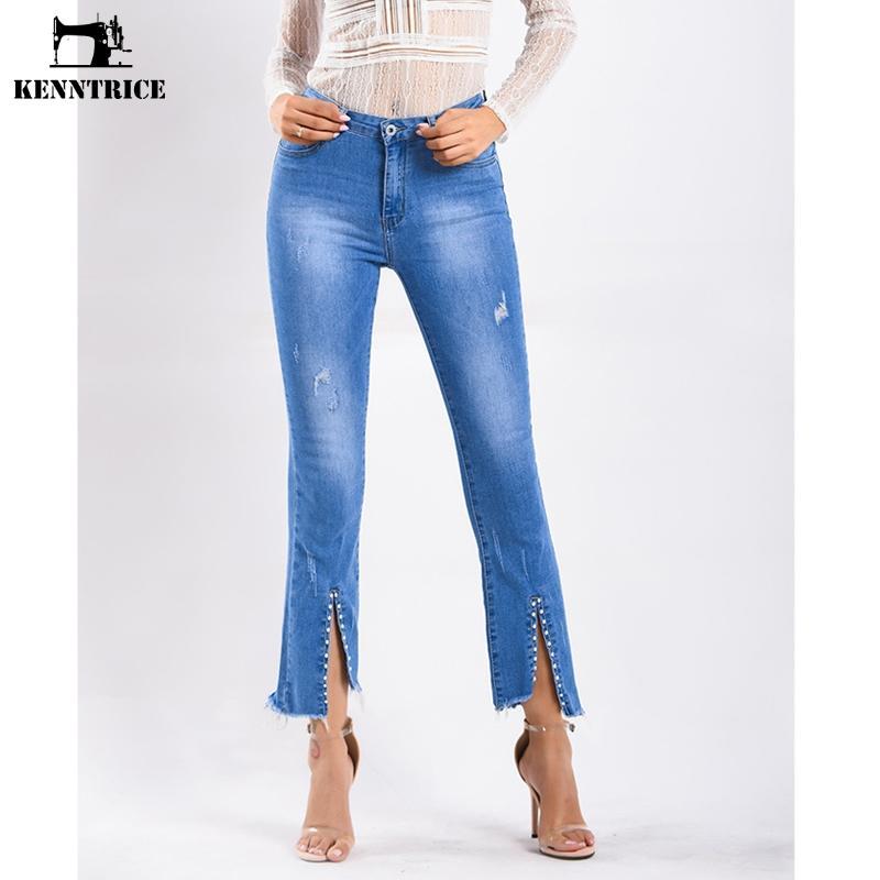 KENNTRICE 여성 플레어 팬츠 Streetwear Blue Jeans Bell Bottom 데님 팬츠 Slim Fit Ladies Trousers