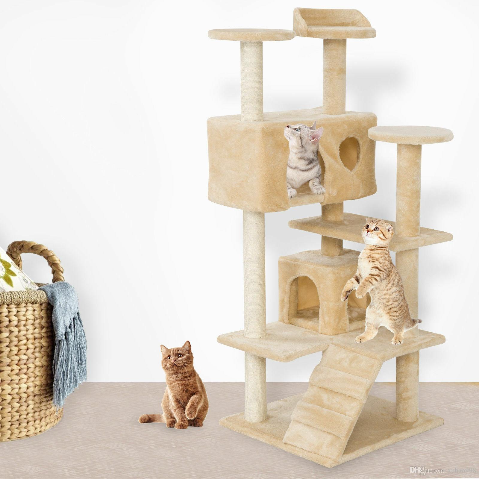 New52 « tour d'escalade de chat partagé chat nid de chat attrapant nid de chat du jeu chaton de bord beige