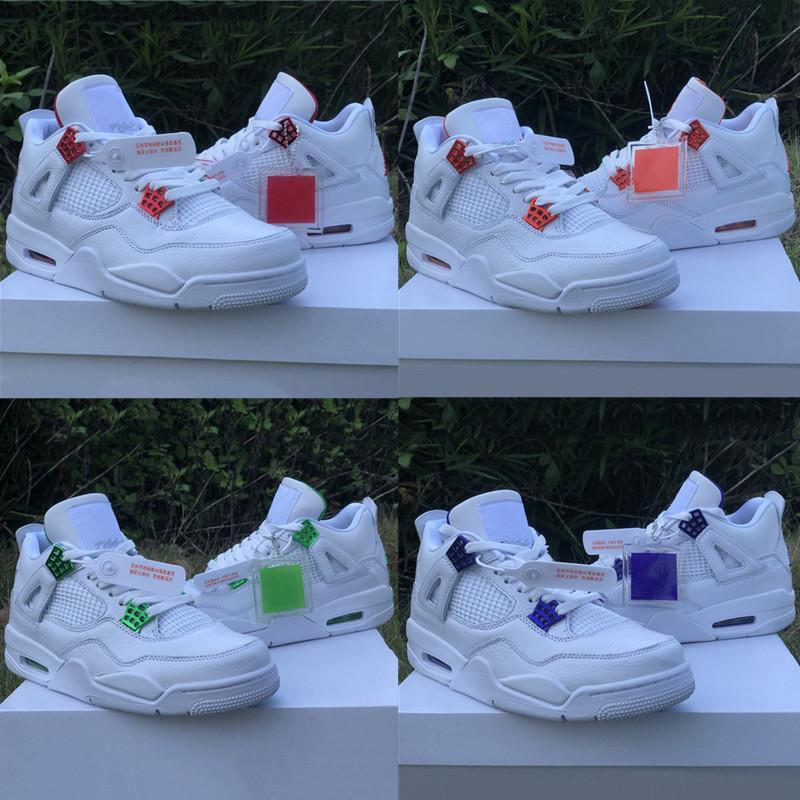 2020 Новый баскетбол обувь UNC Jumpman 4 IV красный металлик Оранжевый Белый Зеленый Фиолетовый Jumpman 4 Мужские спортивные туфли с коробкой