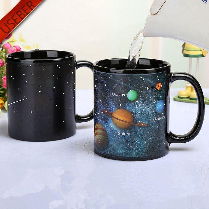 Sistema Solar mudança da cor Caneca Galaxy Mudança canecas sensível ao calor mudança Sublimation Coffee Tea Cups Cor Magia T200104