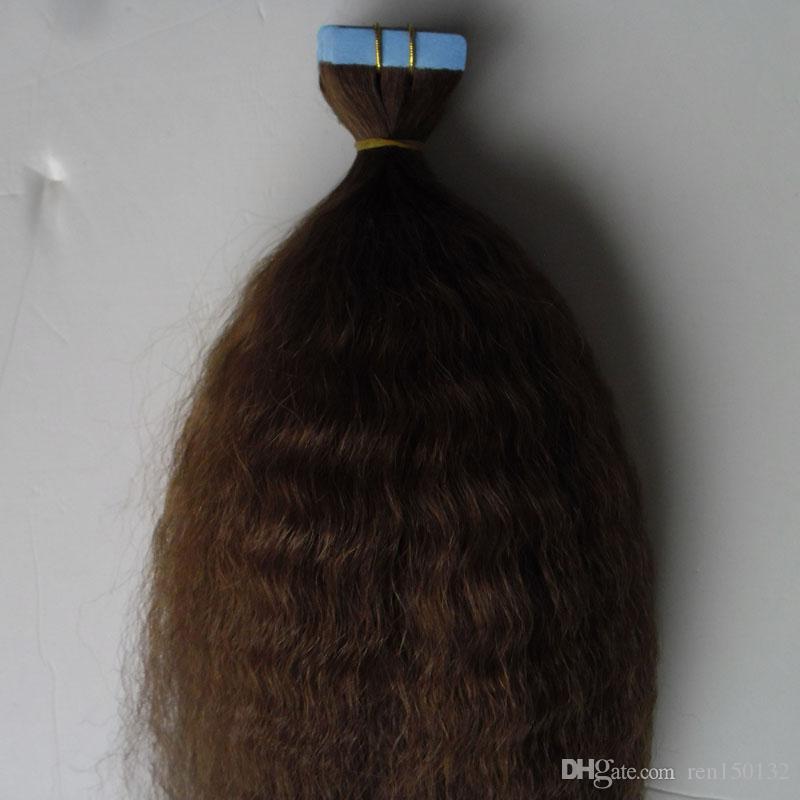 Tape Em Extensões de cabelo humano Pure Color Kinky reta 40pcs grosso yaki invisível adesivo de pele trama fita Hair Extension
