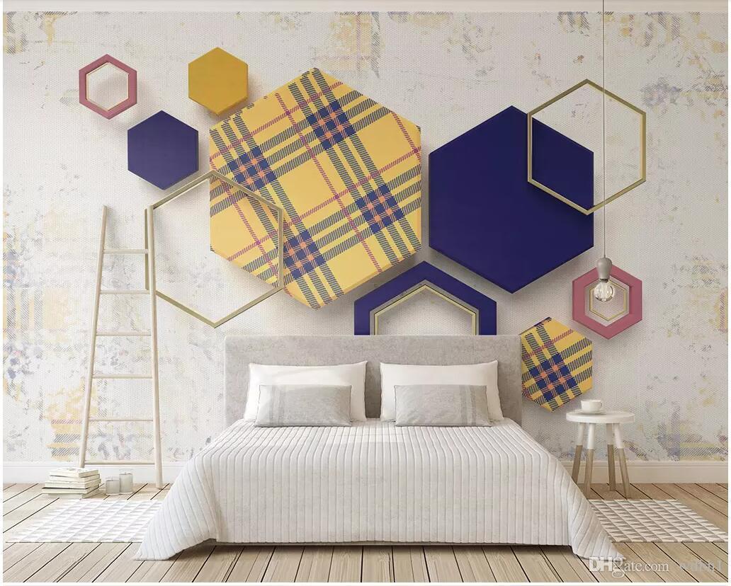 duvarlara 3 d için WDBH 3d fotoğraf kağıdı özel duvar Retro geometrik altıgen ekose dikiş tv arka plan ev dekor salon duvar kağıdı