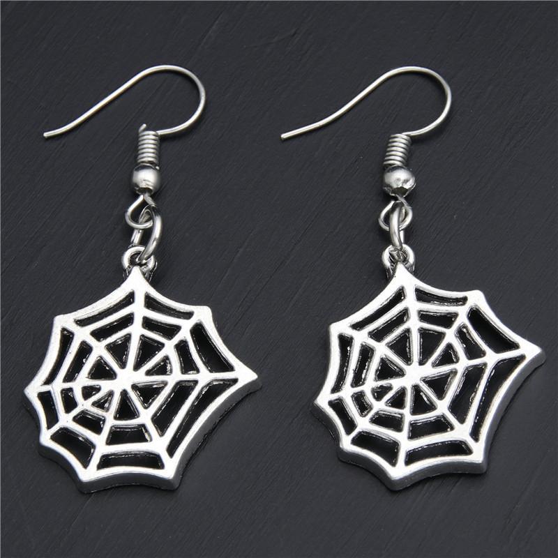 Venta caliente Ancient Silver Spider WebSpider Pendientes Ear Hook Personalidad Mujeres creativas Joyas Popular Diseñador Pendientes Halloween Mejor regalo