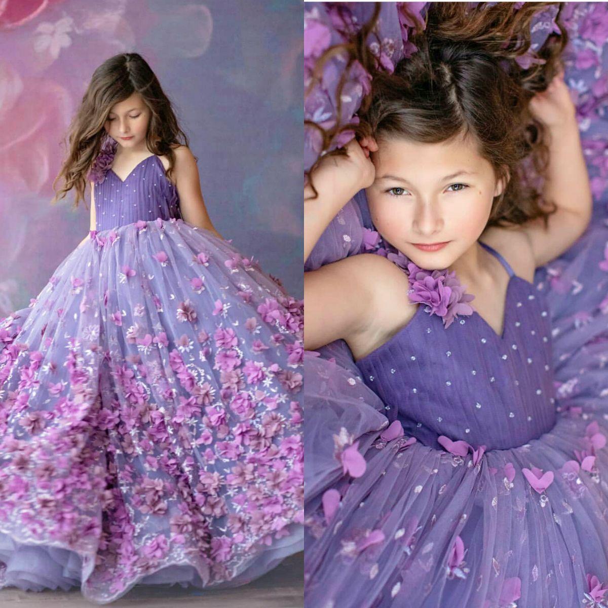 Принцесса фиолетовый бальное платье цветок девушки платья для свадьбы 3D цветочные аппликация дети формальная одежда бисером театрализованное платье vestidos de primera