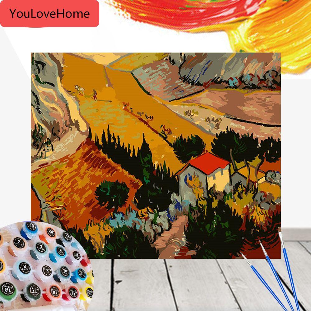 Pintura por el arte del paisaje Número cuadros de la pintura Decoración Kits de regalo lienzo de dibujo pintado a mano de la pared del arte