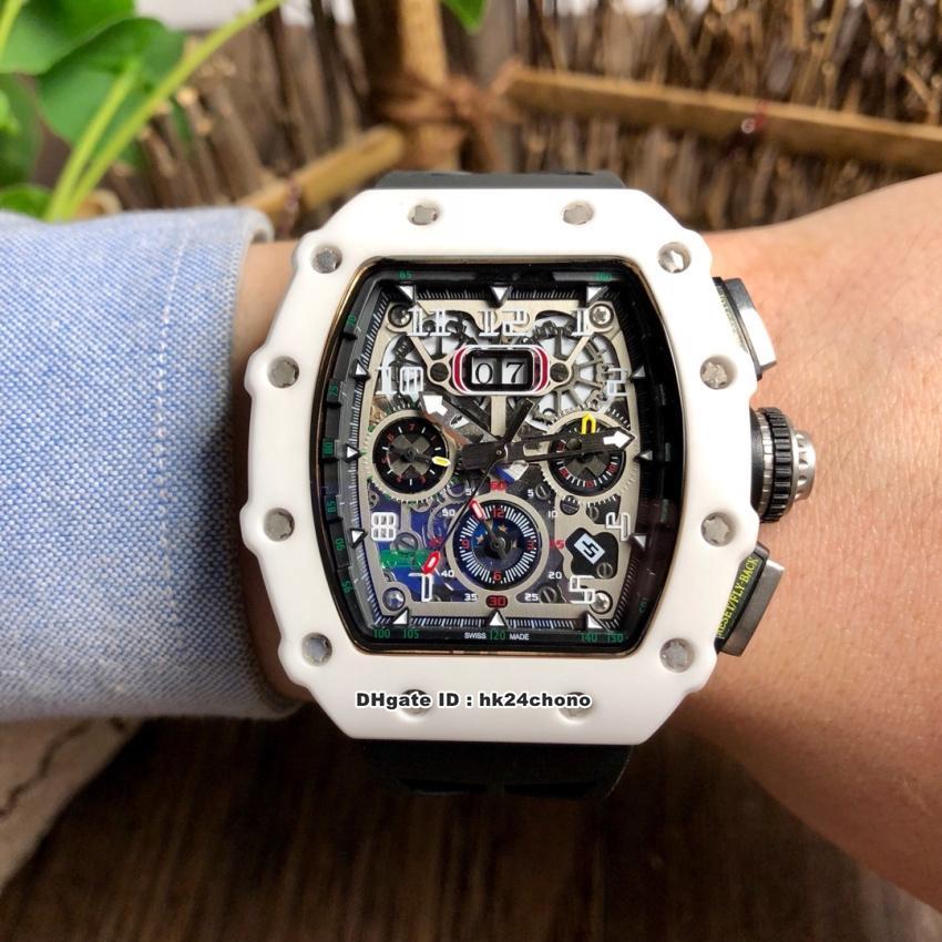 NOVO 9 estilos de Luxo Melhor RM11-03 Big Data TZP-N Ceramic Miyota Automatic Mens Watch Skeleton Dial pulseira de borracha PRETO Gents relógios desportivos