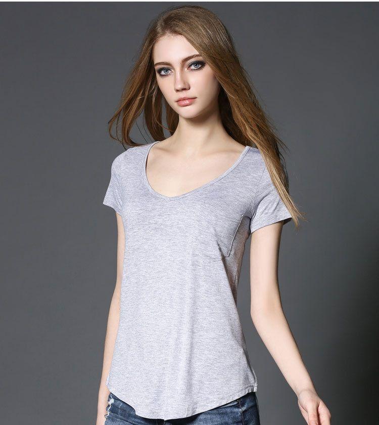 Büyük beden kadınların kısa kollu gevşek moda vahşi modal V yaka kısa kollu tişört 2020 yeni yaz lüks tasarımcı