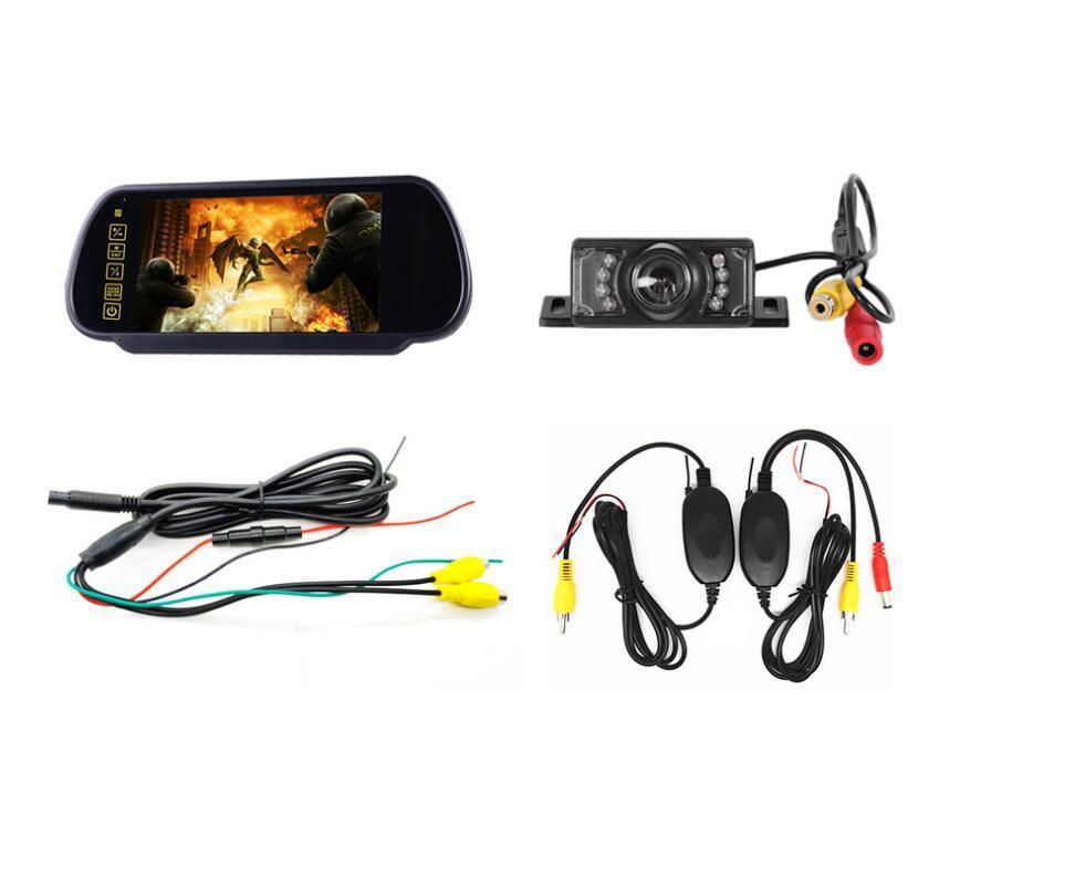 Nouveau sans fil inverse assistance au stationnement 7 pouces TFT LCD voiture miroir moniteur avec caméra 6 LED de secours voiture étanche caméra arrière