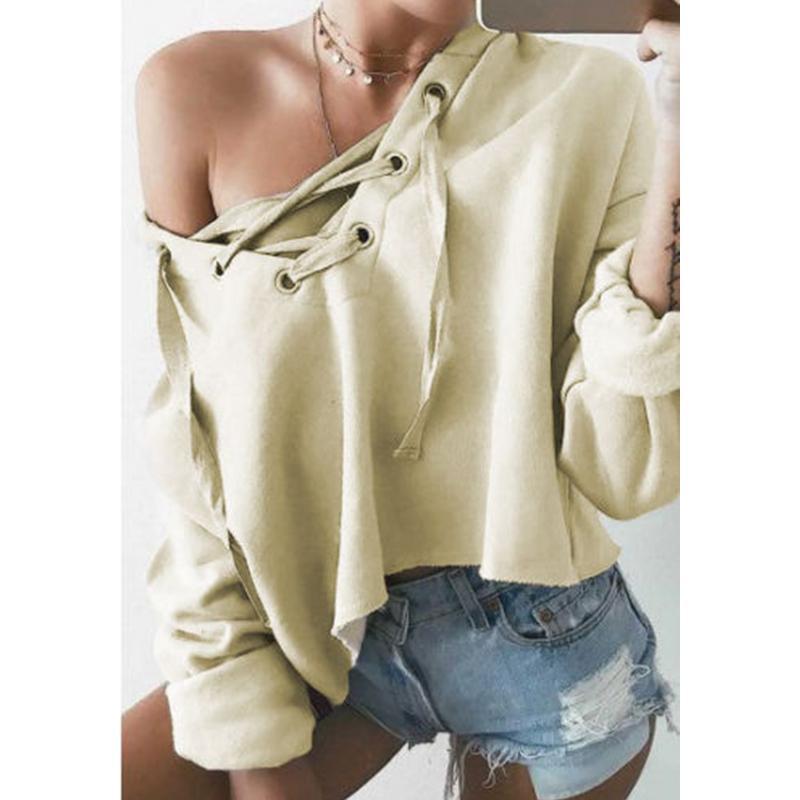 2018 Novedades Llegadas Moda Mujeres calientes Niñas Llanura Casual Crop Top Pullover Mujer Sudadera con capucha sólida Sudadera con capucha